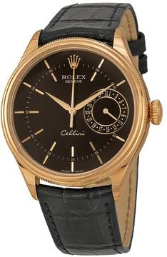 Rolex Cellini Date Black Dial 18kt Everose Gold Men's Watch