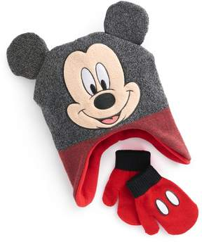 Disney Disney's Mickey Mouse Toddler Boy 3D Ears Trapper Hat & Mittens Set