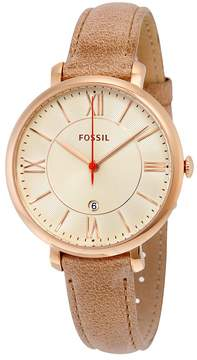 Fossil Jacqueline White Dial Camel Leather Strap Ladies Watch