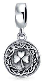 Celtic Bling Jewelry Knot 3 Leaf Clover Shamrock Dangle Bead Charm .925 Sterling Silver.