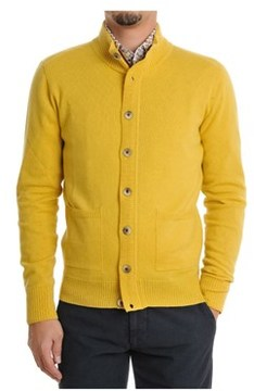 H953 Men's Yellow Wool Cardigan.