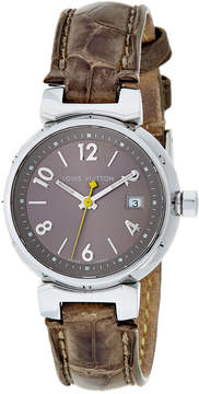 Louis Vuitton Silver-Tone Brown Alligator Tambour Quartz Watch