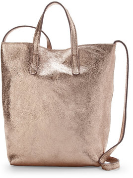 street level Rose Gold Crackled Leather Mini Tote