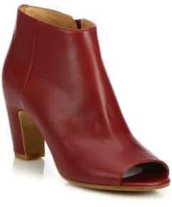 Maison Margiela Leather Peep Toe Curved-Heel Booties