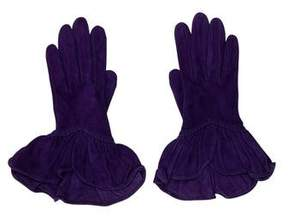 Hermes Suede Ruffle Gloves