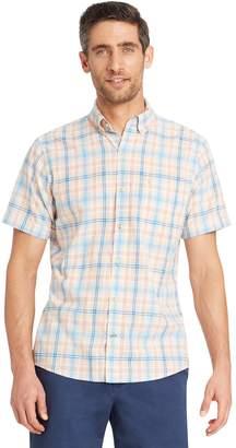 Izod Big & Tall Regular-Fit Plaid Chambray Button-Down Shirt