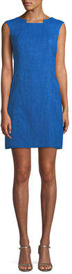 Tahari ASL Square-Neck Sleeveless Grasscloth Dress