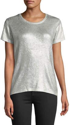 Majestic Silk Short-Sleeve Crewneck Metallic-Knit