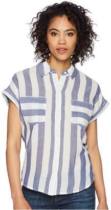 Lucky Brand Stripe Tie Back Shirt Women's Clothing