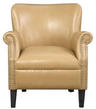 Emerald Home Oscar Saddle Accent Chair with Faux Leather Upholstery And Nailhead Trim