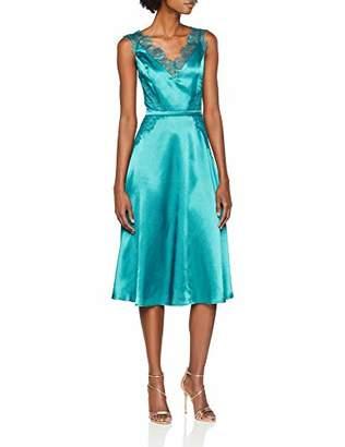 d375700db6ae08 Little Mistress Women s Green Satin Dress A-Line Plain V-Neck Sleeveless  Party Dress