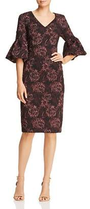 Aidan Mattox Floral Jacquard Bell-Sleeve Dress
