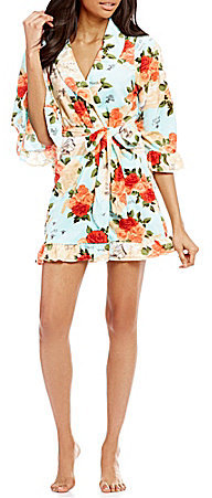 Betsey Johnson Betsey Johnson Floral Ruffled Vintage Terry Wrap Robe