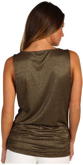 Michael Stars Shimmer Cowl Shirred Side Tank