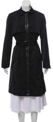 Jason Wu Leather-Trimmed Knee-Length Coat