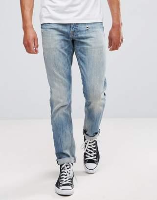 Asos DESIGN Slim Jeans In Mid Wash Vintage With Abrasions