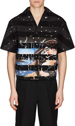 Prada Men's Graphic Cotton Bowling Shirt