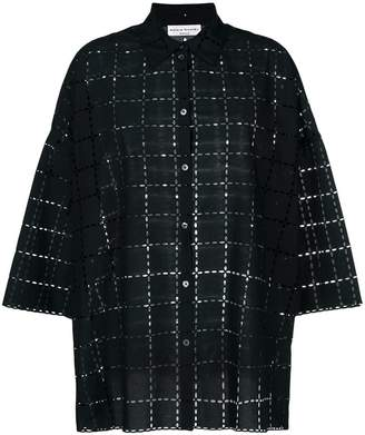 Sonia Rykiel checked broderie-anglaise shirt