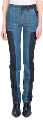 Chloé Zip-Front Patch-Pocket Straight-Leg Bicolor Jeans