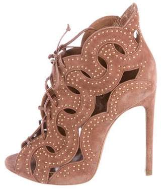 Alaia Suede Studded Cage Sandals
