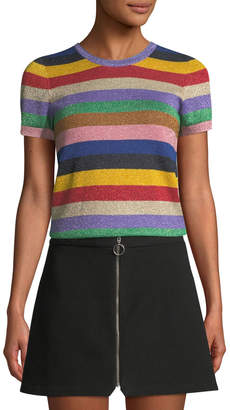 Alice + Olivia Striped Short-Sleeve Top