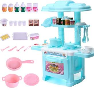 Kadell With Cooking Sounds Kids Kitchen Pretend Cooking Cookware Set Toy with Play Food Cooking Utensils Lights, Folds into Stool Pots Pans Fruit Vegetables Toys Gift for Baby Children