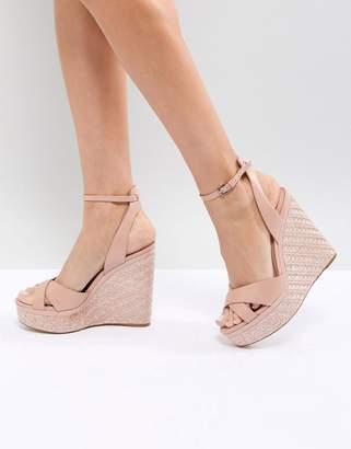 Aldo Cross Strap Wedge Shoe with Textured Heel