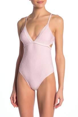 Splendid Mesh V-Neck One-Piece Swimsuit