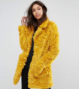 Glamorous Tall Coat In Snuggle Faux Fur