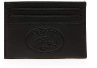 Lacoste Men's L.12.12 Casual Embossed Lettering Leather 6 Card Holder