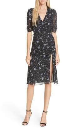 Nicholas Ditsy Floral Print Ruched Silk Dress