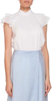 Erdem Opal Mock-Neck Dotted Cotton Shirt