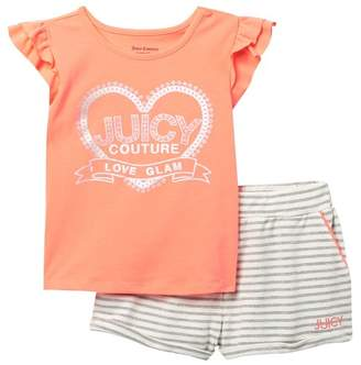 Juicy Couture Love Glam Top & Stripe Shorts 2-Piece Set (Little Girls)