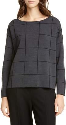 Eileen Fisher Bateau Neck Windowpane Sweater