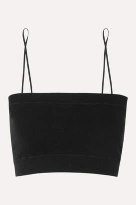 Skin - Stretch Organic Cotton-blend Soft-cup Bralette - Black
