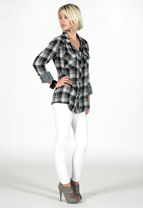 Rails Kendra Original Plaid Button Down Shirt in Black/Grey