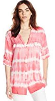 Calvin Klein Women's Tie Dye Button Front Top