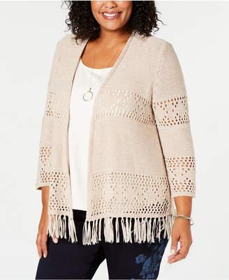 Style&Co. Style & Co Plus Size Fringe Lacy-Knit Cardigan