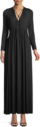 Rachel Pally Tatum Tie-Neck Long-Sleeve Long Jersey Dress, Plus Size