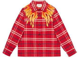 Gucci Children's embroidered check shirt