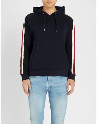 Sandro Striped-trim cotton-blend hoody