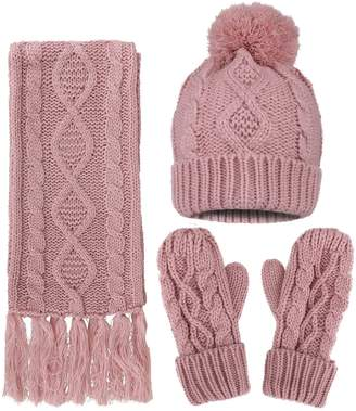 ANDORRA - 3 in 1 - Soft Warm Thick Cable Hat Scarf & Gloves Winter Set