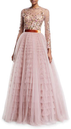 J. Mendel Long-Sleeve Floral Embroidered Illusion Ball Gown