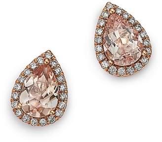 Bloomingdale's Morganite Teardrop & Diamond Stud Earrings in 14K Rose Gold -100% Exclusive
