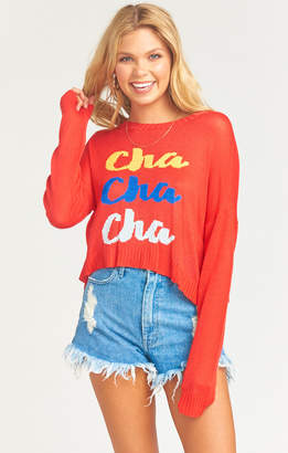 Show Me Your Mumu Cropped Varsity Sweater ~ Cha Cha Cha Knit