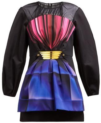 Mary Katrantzou Perfume Bottle Print Satin Mini Dress - Womens - Black Multi