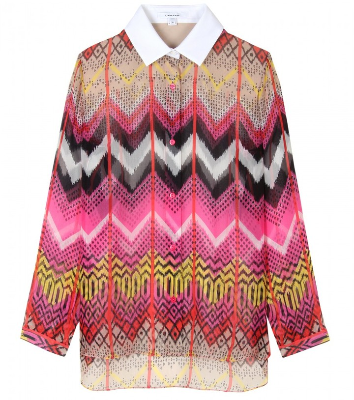 Carven PRINTED SILK BLOUSE