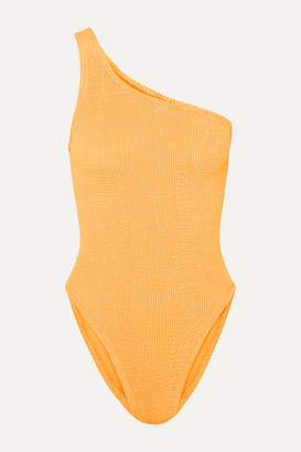Hunza G Nancy One-shoulder Seersucker Swimsuit - Bright orange