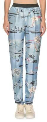 Agnona Palm-Tree Print Elastic Slim Pull-On Pants