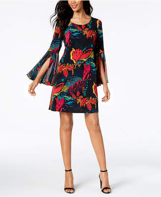 MSK Floral-Print Bell-Sleeve Shift Dress